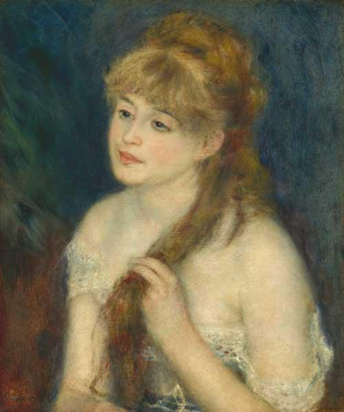 Auguste Renoir. Giovane donna che si pettina, 1876, olio su tela. Collezione Ailsa Mellon Bruce, 1970.17.63 (Immagine presa dal sito dell'Ara Pacis)